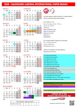Calendario Laboral 2020 Fábrica